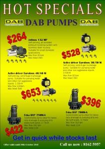 DAB Pumps HOT SPECIALS